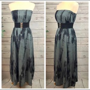 Elan Tie Dye Boho Maxi Dress Slate Grey Black